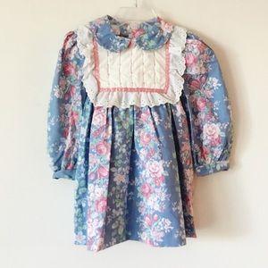 Vintage Poly Flinders Floral Long Sleeve Dress T-2